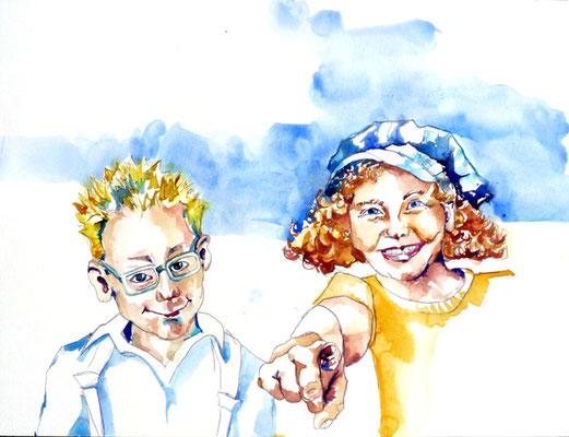 Entwurf für ein Kinderbuchprojekt, Aquarell