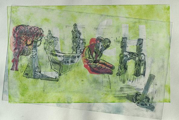 Der Fluch der Flucht, Radierung, Hochdruck, Kaltnadel, 2016