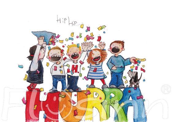 Grußkarte Geburtstag Hurra Freude