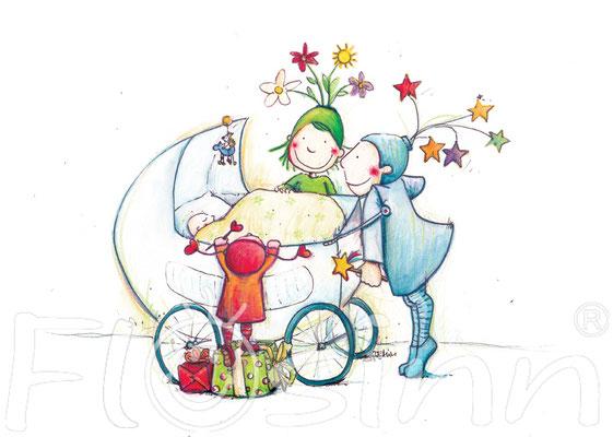 Postkarte Geburt Glück Feen