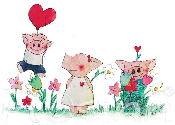Postkarte Schweine Liebespaar Glück