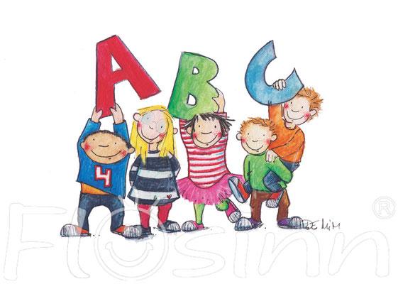 Grußkarte ABC Einschulung Kinder Gratulieren