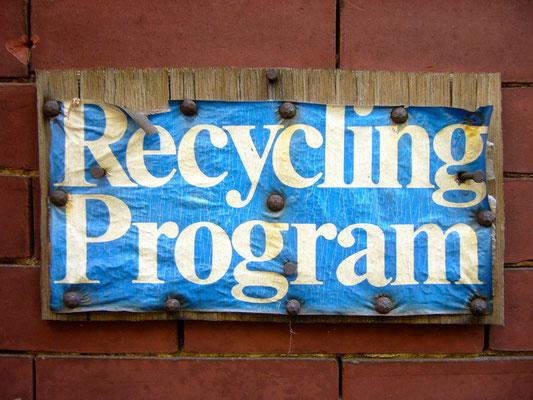 Hinweisschild Recycling Programm USA