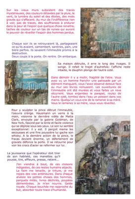 """""""Les Ephélides"""", atelier d'écriture, ont présenté ce texte sur mes tableaux """"Démolitions""""."""