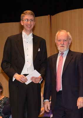 Receiving the Royal Overseas League Accompanist Prize from Richard Stilgoe, 2015 © James Mccormick