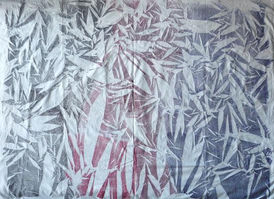 NIM Inspirações nipónicas 4, técnica mista sobre tecido 150x200 cm