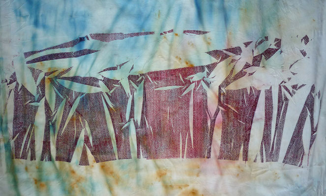 NIM Inspirações nipónicas 6, técnica mista sobre tecido 60x100 cm