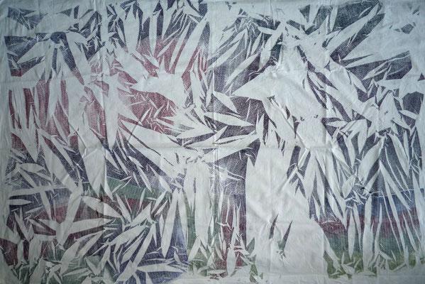 NIM Inspirações nipónicas 5, técnica mista sobre tecido 150x200 cm