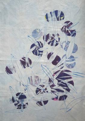NIM Inspirações nipónicas 1, técnica mista sobre tecido, 140 x 100 cm