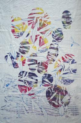 NIM Inspirações nipónicas 2, técnica mista sobre tecido 140x100 cm