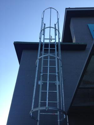 Leiter mit Rückenkorb