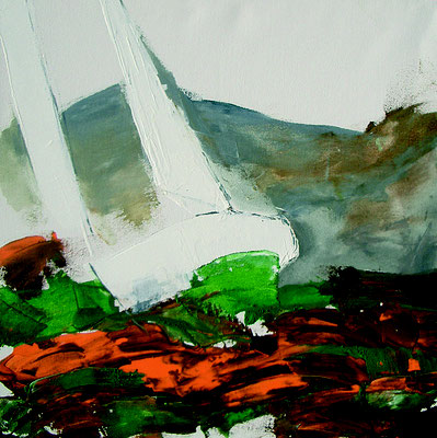 Segelboote abstrakt in  grün orange 50x50x4 auf Leinwand PM