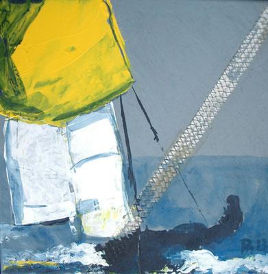Jolle mit gelben Spi blaugrau 30x30 PM