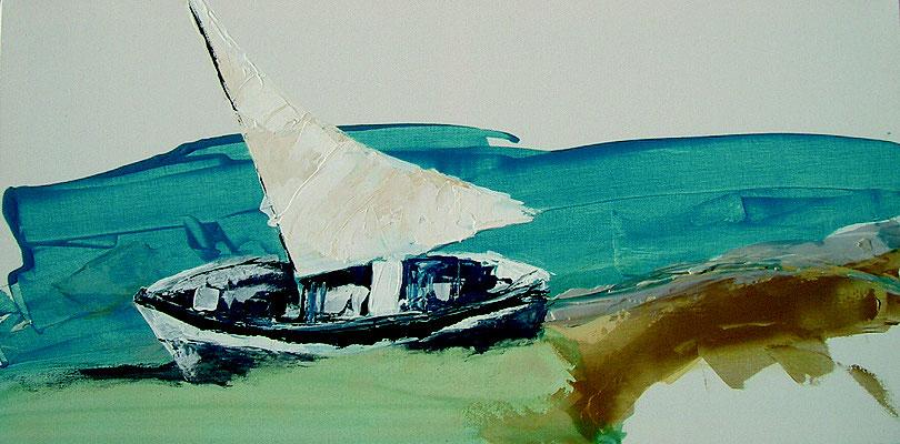 Segelboot am Strand liegend 100x50 auf Leinwand PM