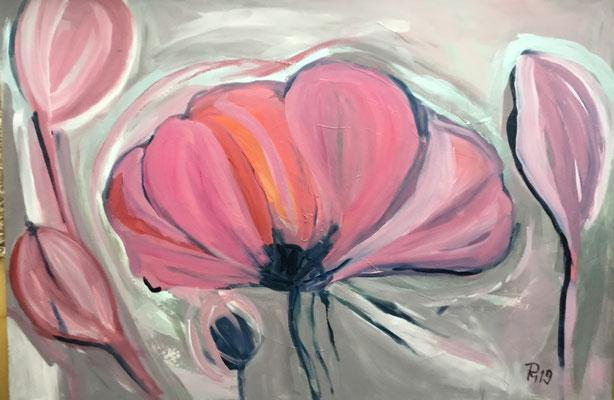 Freie Malerei mit Blumen, 120 x 80 cm, Pink mit Silber und einem matten Violett, Acrylfarben auf Leinwand PM