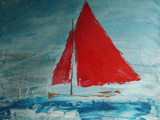 Segelboot mit rotem Segel, locker gemalt, 50x50 PM