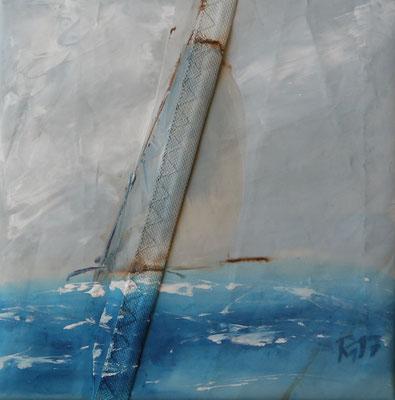 Bild mit soften Farben und Naht - Segelboote Holz - 30x30 PM