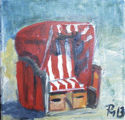Roter Strandkorb in Acryl gemalt 20x20 PM