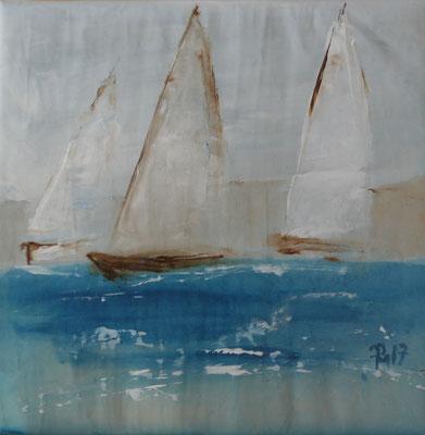 Bild mit soften Farben - Segelboote Holz - 30x30 PM