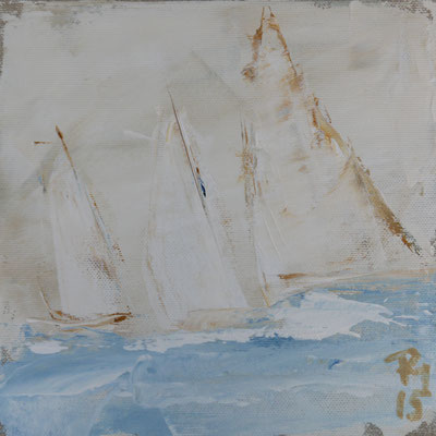 Segler moderne Malerei creme hellblau, softe Farben 20x20 PM