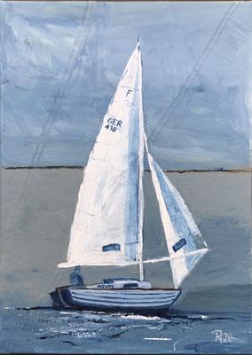 Folkeboot mit Acrylfarben auf Segeltuch gemalt, 50 x 70 cm PM