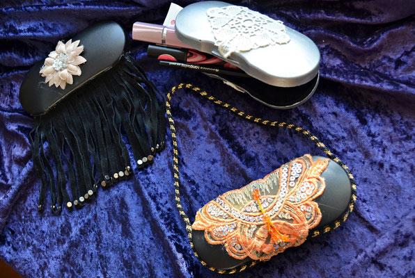 aus alten Brillenetuis entstanden kleine Clutchs bzw. Aufbewahrungsetuis für die Handtasche