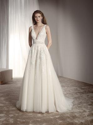 Brautkleid A-Linie Fara Sposa mit Spitze Brautmoden Per Sempre