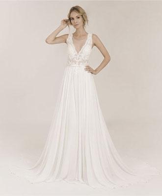 Brautkleid mit besticktem Oberteil, Rock aus Satin