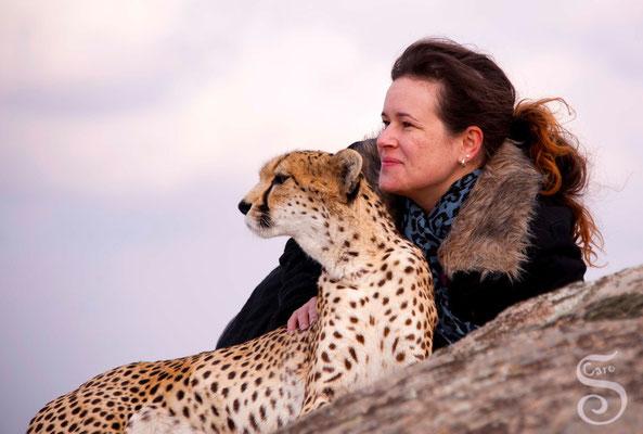 Ich beim Gepardenkuscheln