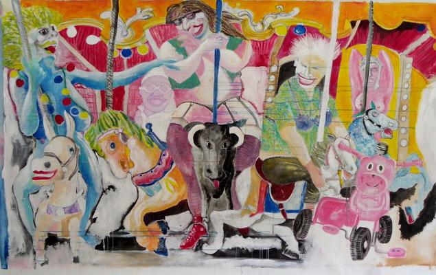 Le manège  acrylique sur toile 2.00 x 1.30m