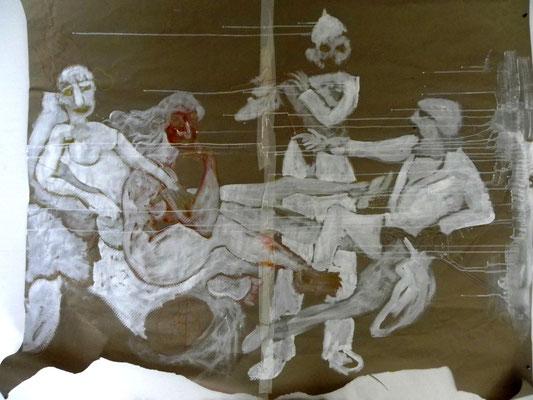 Hommage à Manet - acrylique sur kraft 160 x180 - version impression numerique disponible
