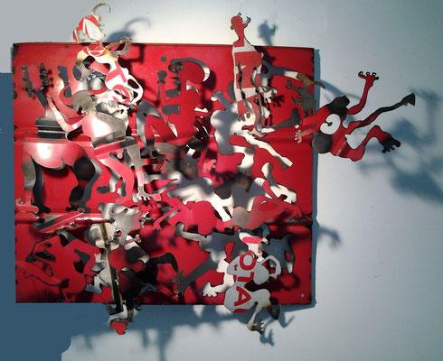 sculpture murale métal 100cm x 90cm