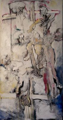 descente de croix d'après Rubens acrylique sur toile 210 x180