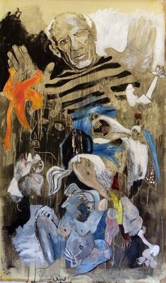 Hommage à Picasso acryl sur kraft et bois 200 X 120 collection de l'artiste