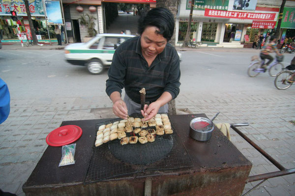 Food vendor in Mengla - Yunnan Province - Southern China