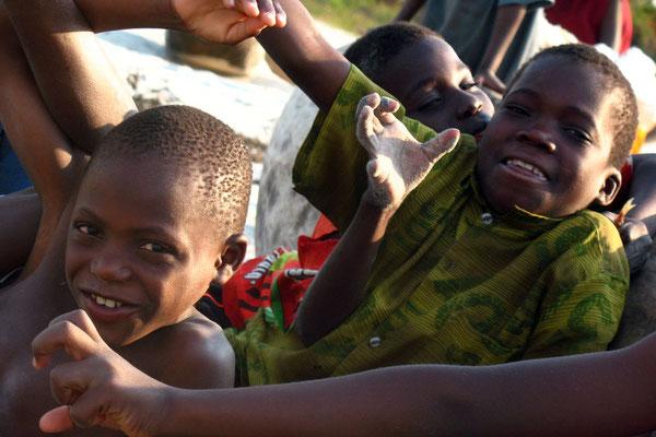 Kids having fun at Chintheche Beach - Lake Malawi