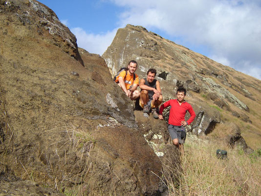 Pedro, me and Ivan - Rano Raraku