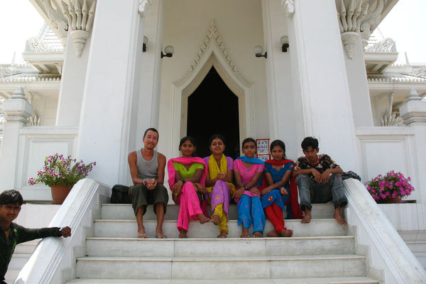 Indian tourists and me at Royal Thai Monastery - Lumbini