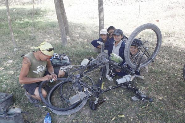 Puncture stop - Pamir Highway - Tajikistan