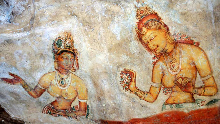 Rock paintings at Sigiriya