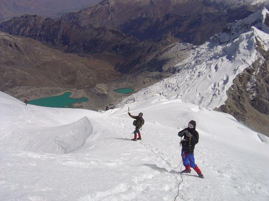 Me and Vladimir heading back - Tocclaraju - Cordillera Blanca