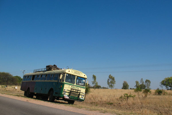 Bus at Highway 7 - West of Bulawayo - Southern Zimbabwe