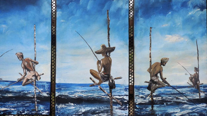 Paintng of Sri Lankan Stilt Fishers - Negombo Beach