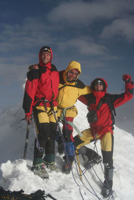Andy, me and Bartek at Huayna Potosi summit - 6,088 m - Cordillera Real
