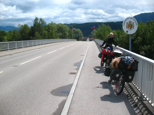 Crossing Rhine River and the border to Liechtenstein - Switzerland