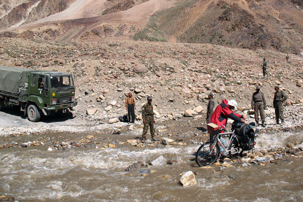 The Indian army unsuccessfully trying to help us crossing a river
