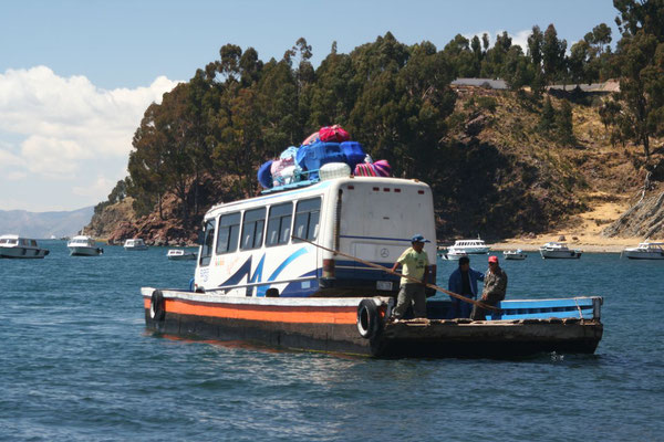 Ferryboat crossing southern Titicaca Lake