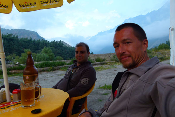 Alex and me having a beer at Kazbegi - Georgia