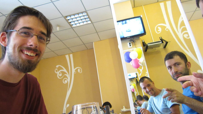 Fabian, me and Raul having lunch - Dushanbe - Tajikistan