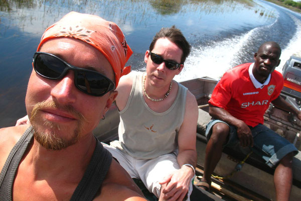 Me, David and a guide on Duro River - Okavango Delta